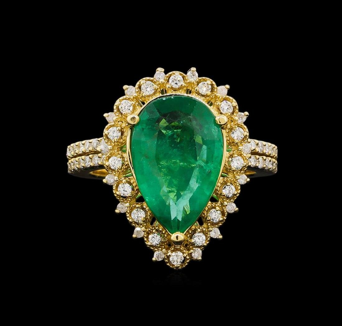 14KT Yellow Gold 3.82 ctw Emerald and Diamond Ring - 2