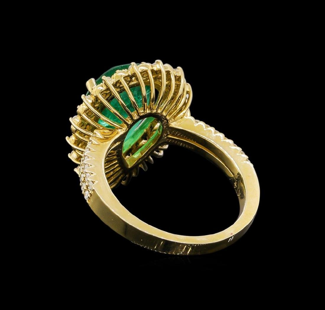 14KT Yellow Gold 3.82 ctw Emerald and Diamond Ring - 3