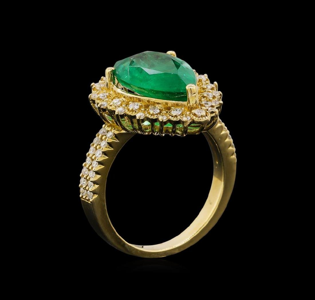 14KT Yellow Gold 3.82 ctw Emerald and Diamond Ring - 4