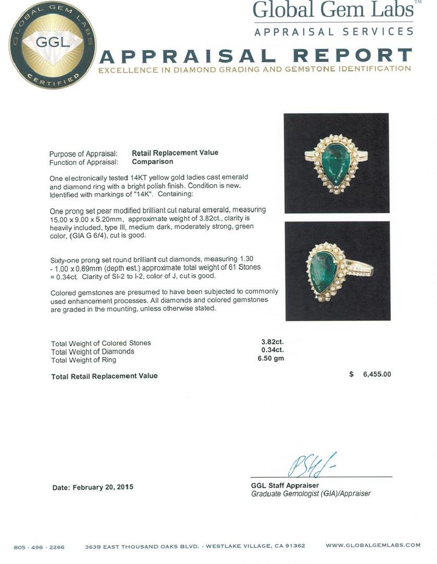 14KT Yellow Gold 3.82 ctw Emerald and Diamond Ring - 5