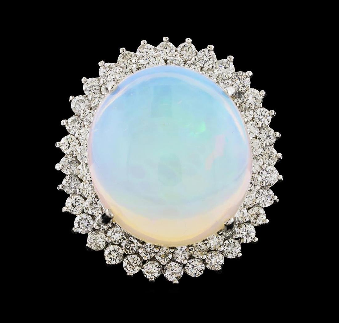 17.42 ctw Opal and Diamond Ring - 14KT White Gold - 2