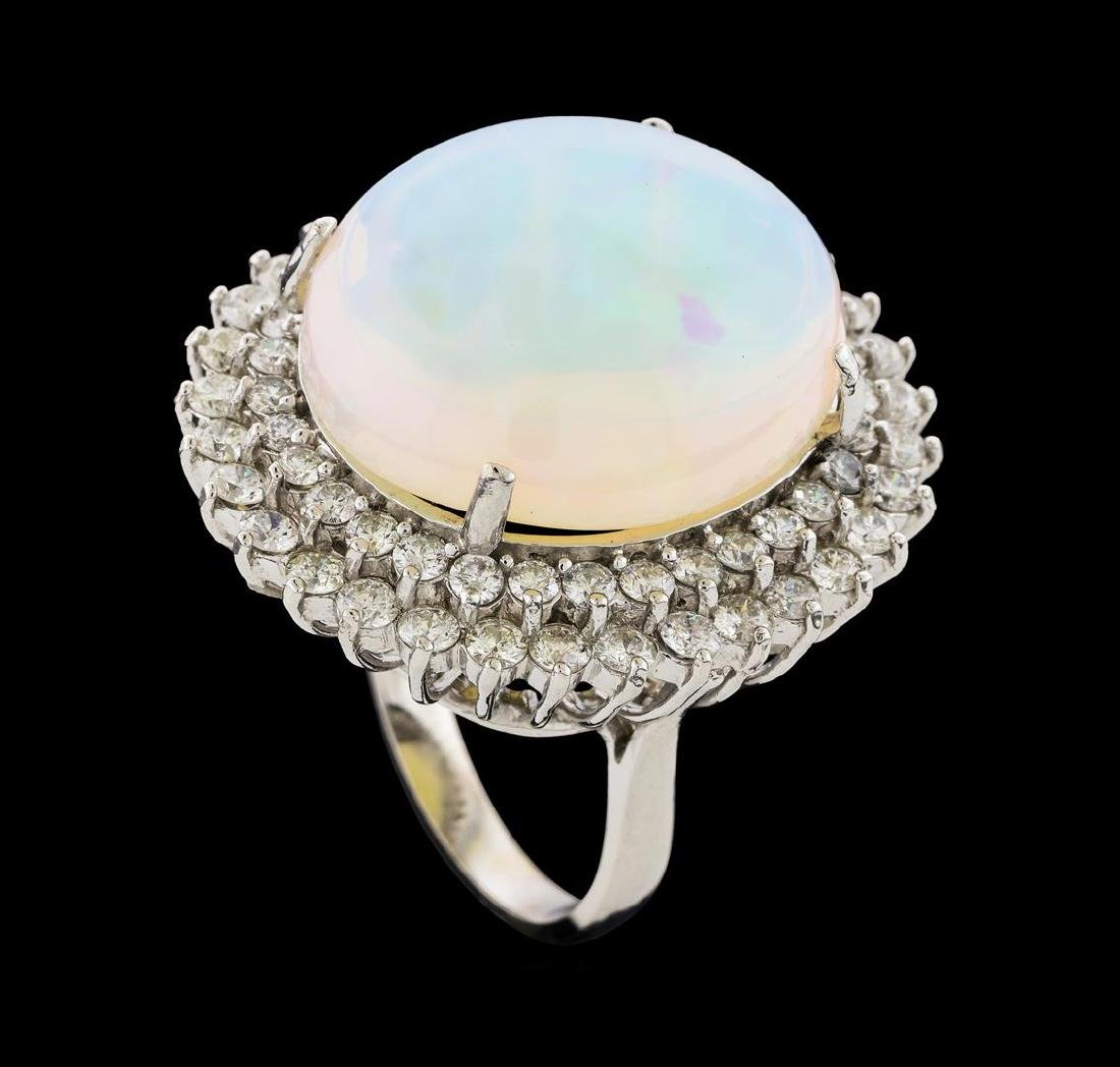 17.42 ctw Opal and Diamond Ring - 14KT White Gold - 4