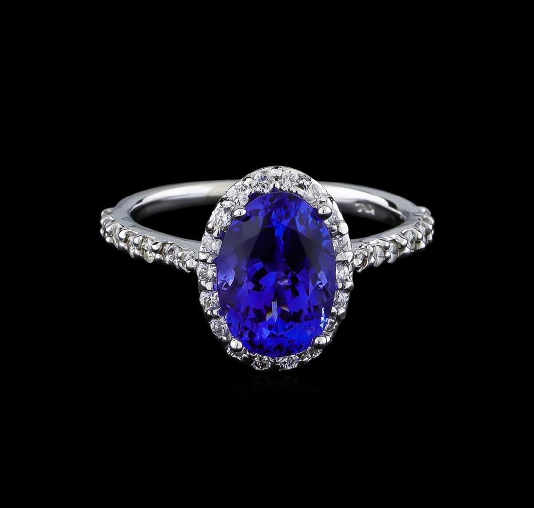 2.60 ctw Tanzanite and Diamond Ring - 14KT White Gold - 2