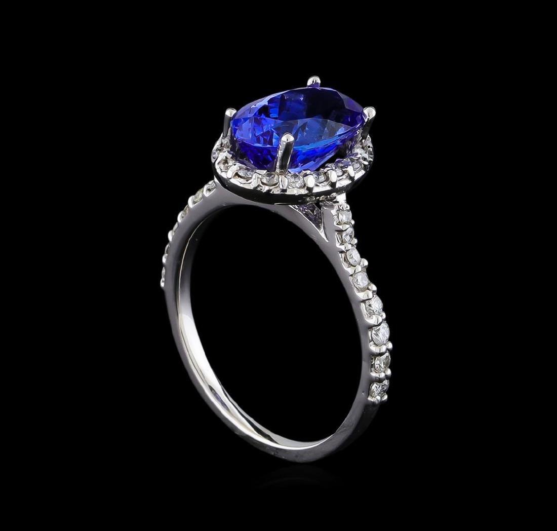 2.60 ctw Tanzanite and Diamond Ring - 14KT White Gold - 4