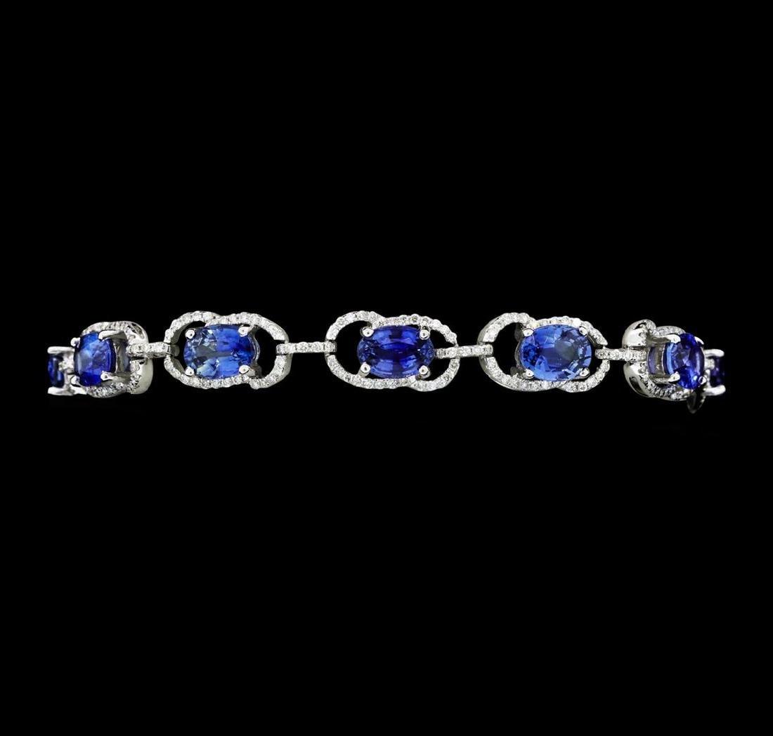 11.15 ctw Blue Sapphire And Diamond Bracelet - 14KT