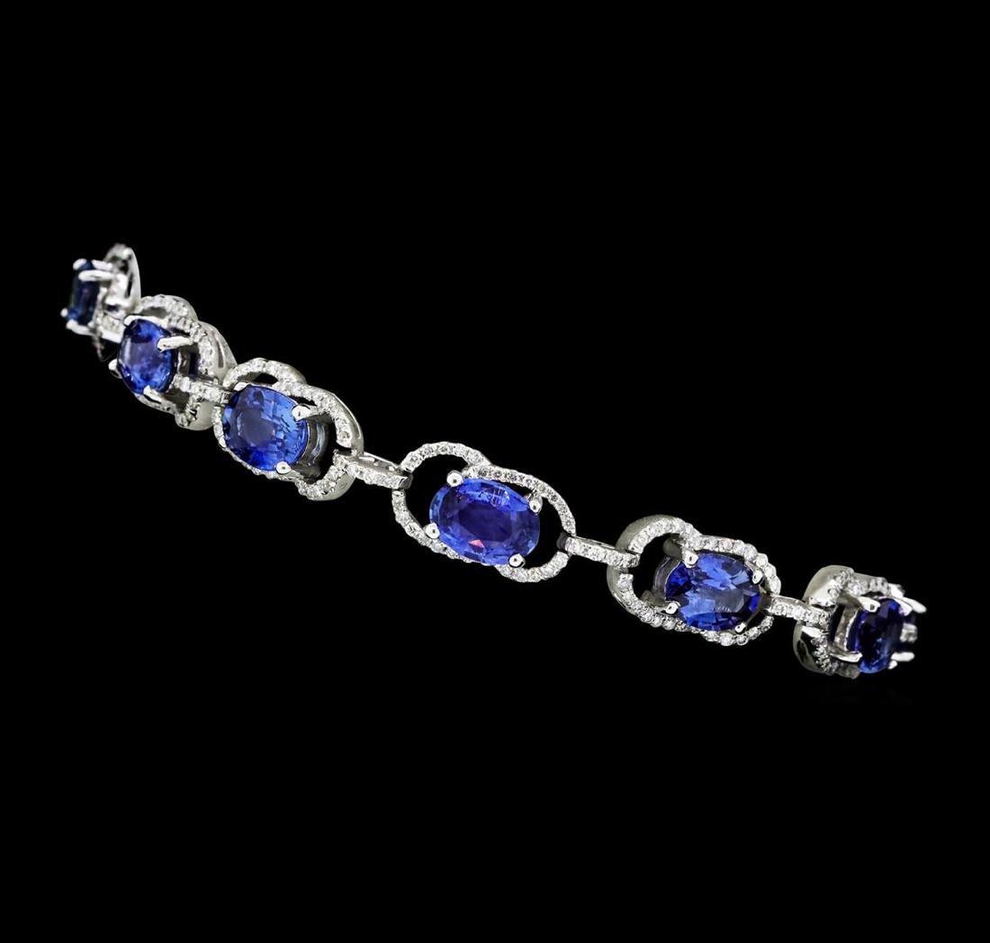 11.15 ctw Blue Sapphire And Diamond Bracelet - 14KT - 2
