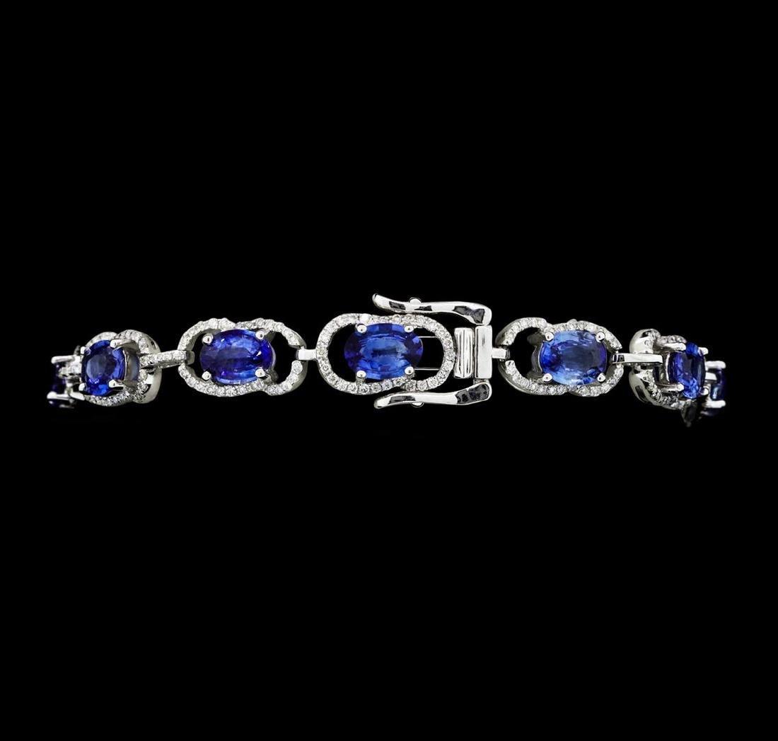 11.15 ctw Blue Sapphire And Diamond Bracelet - 14KT - 3