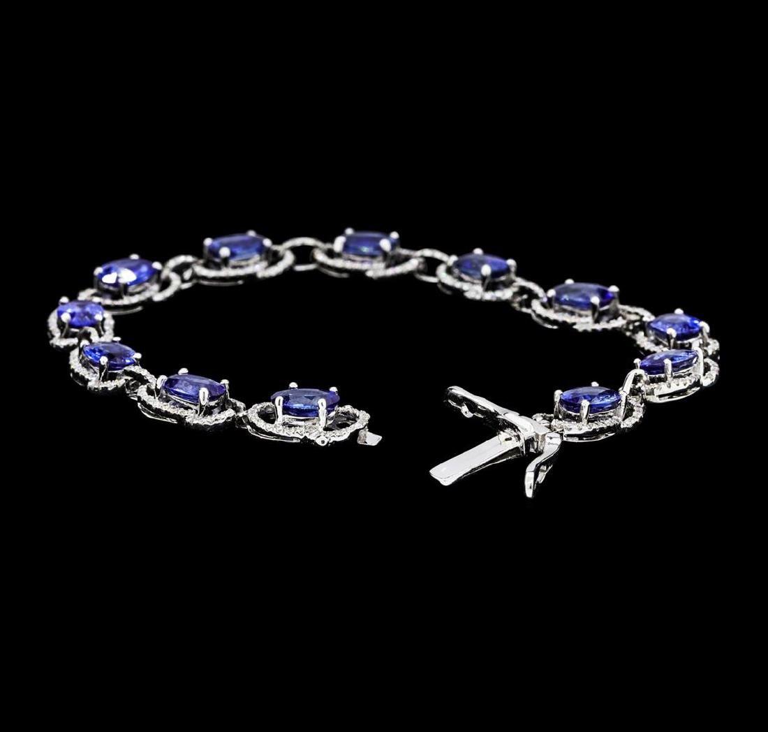 11.15 ctw Blue Sapphire And Diamond Bracelet - 14KT - 4