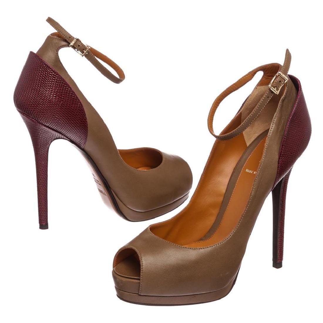 Fendi Taupe Leather Lizard Peep Toe Platform Heels