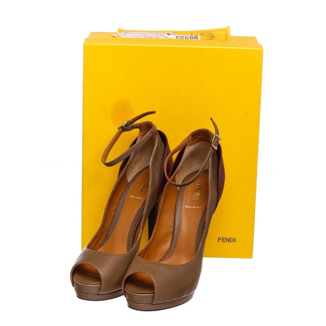Fendi Taupe Leather Lizard Peep Toe Platform Heels - 2