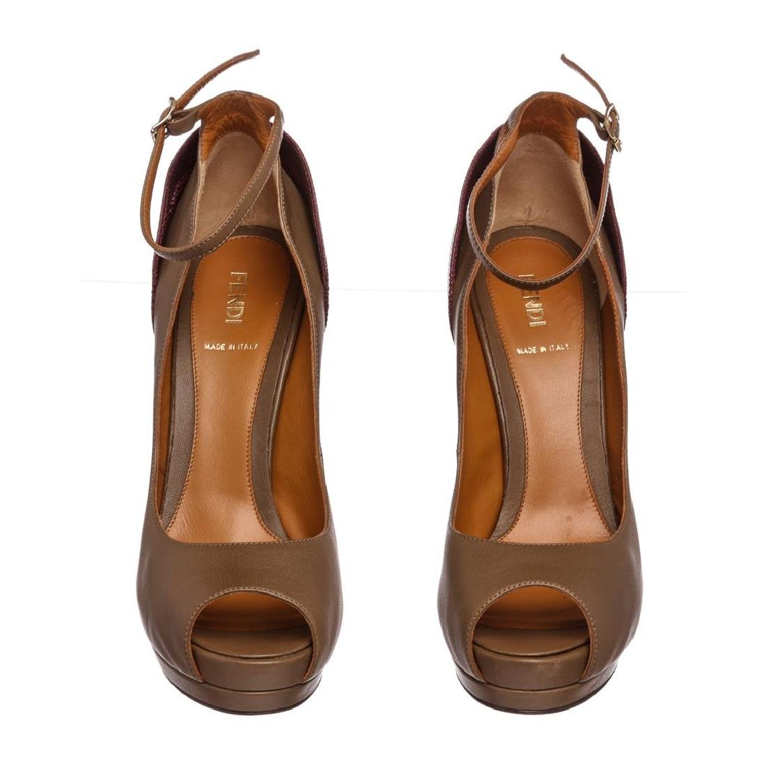 Fendi Taupe Leather Lizard Peep Toe Platform Heels - 3