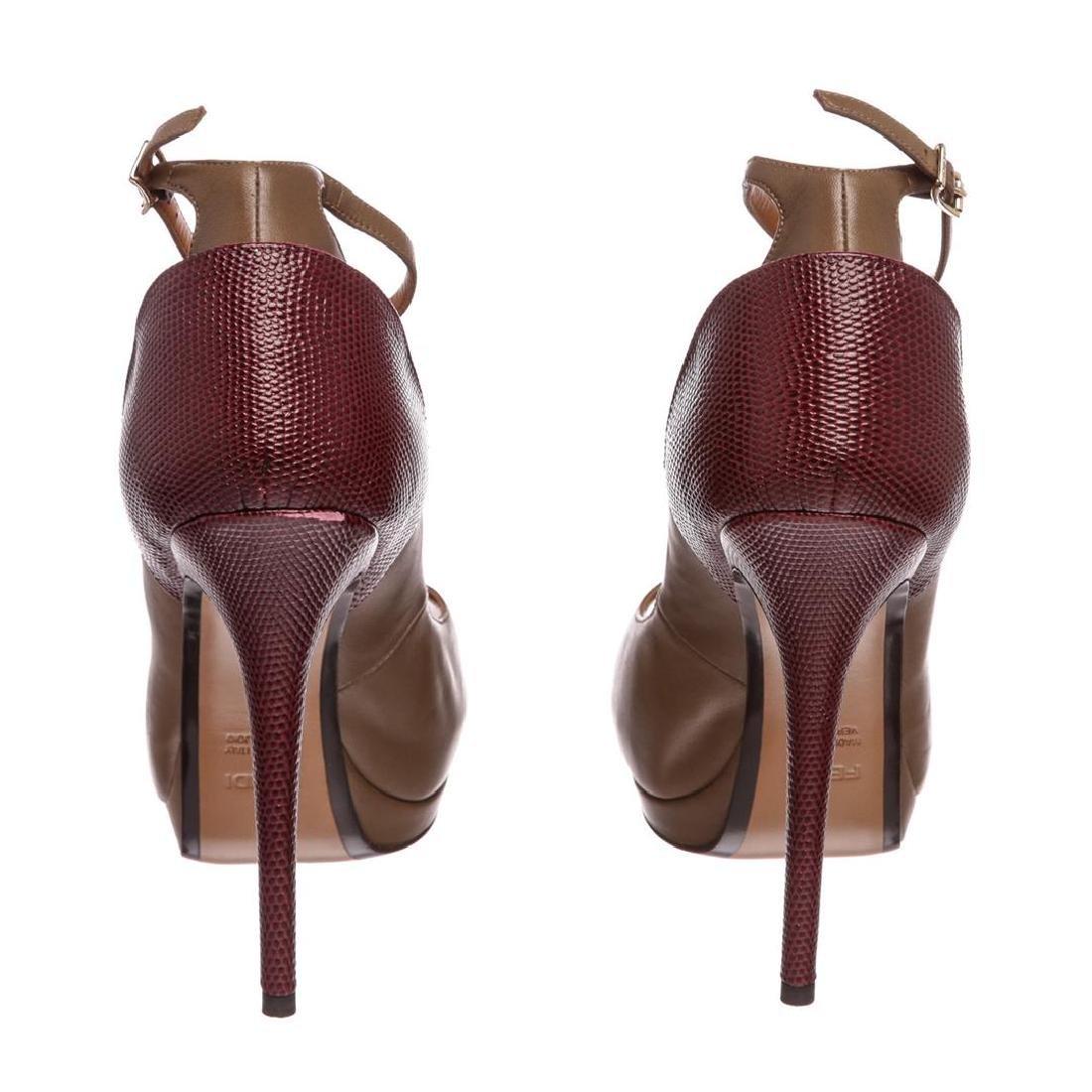 Fendi Taupe Leather Lizard Peep Toe Platform Heels - 4