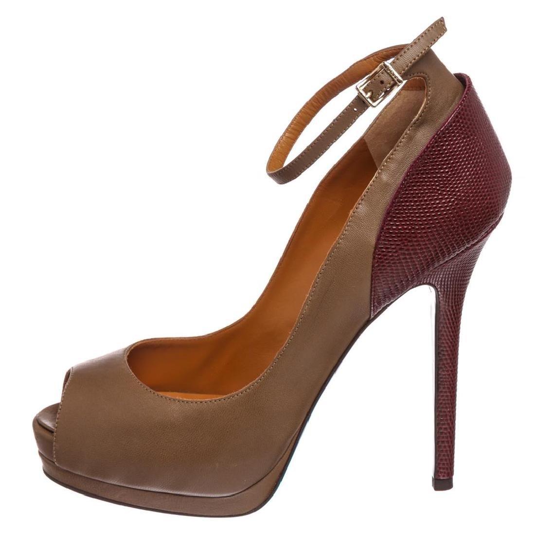 Fendi Taupe Leather Lizard Peep Toe Platform Heels - 6