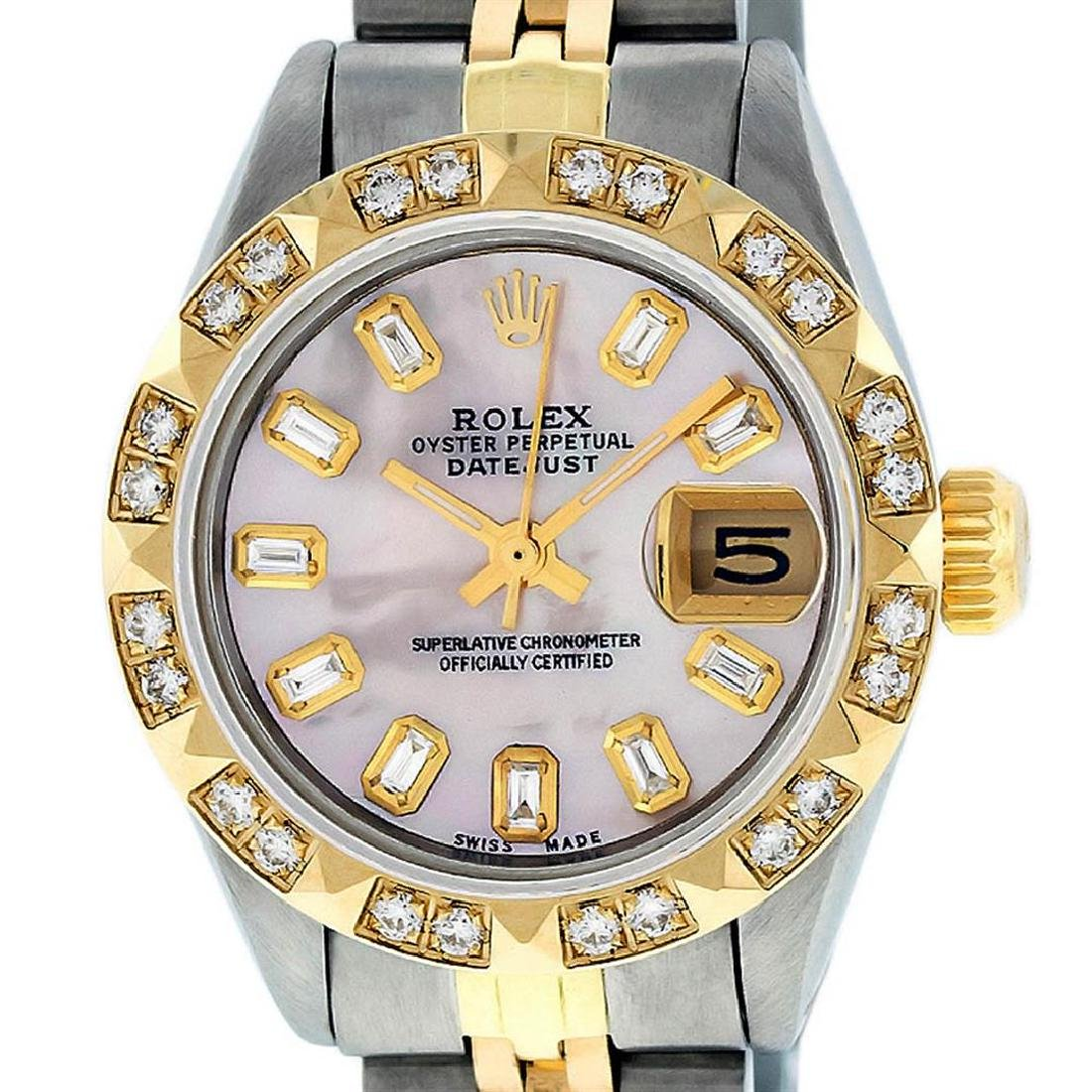 Rolex Ladies 2 Tone 14K Pink Mother Of Pearl Pyramid
