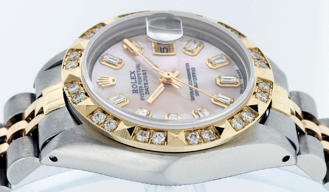 Rolex Ladies 2 Tone 14K Pink Mother Of Pearl Pyramid - 3