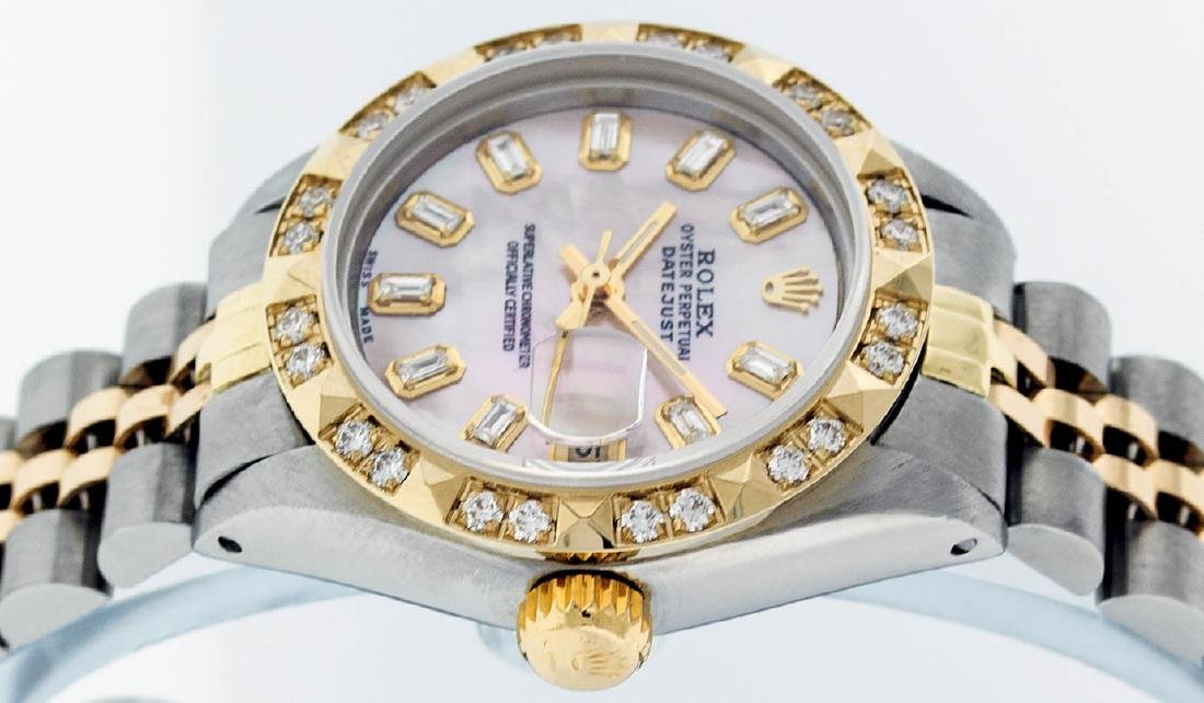 Rolex Ladies 2 Tone 14K Pink Mother Of Pearl Pyramid - 4