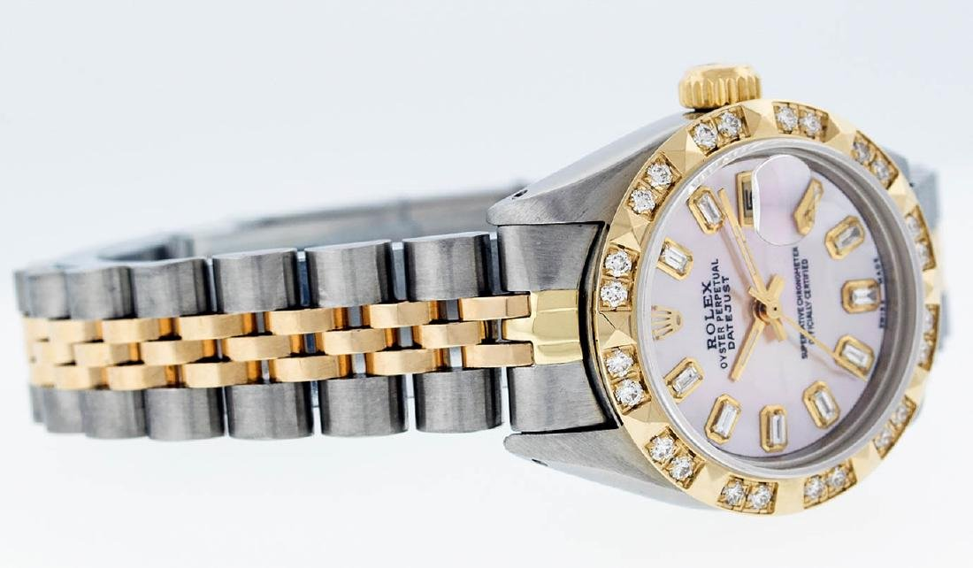 Rolex Ladies 2 Tone 14K Pink Mother Of Pearl Pyramid - 5