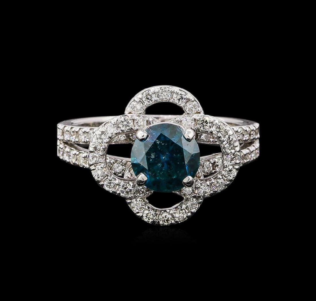 14KT White Gold 1.63 ctw Blue Diamond Ring - 2