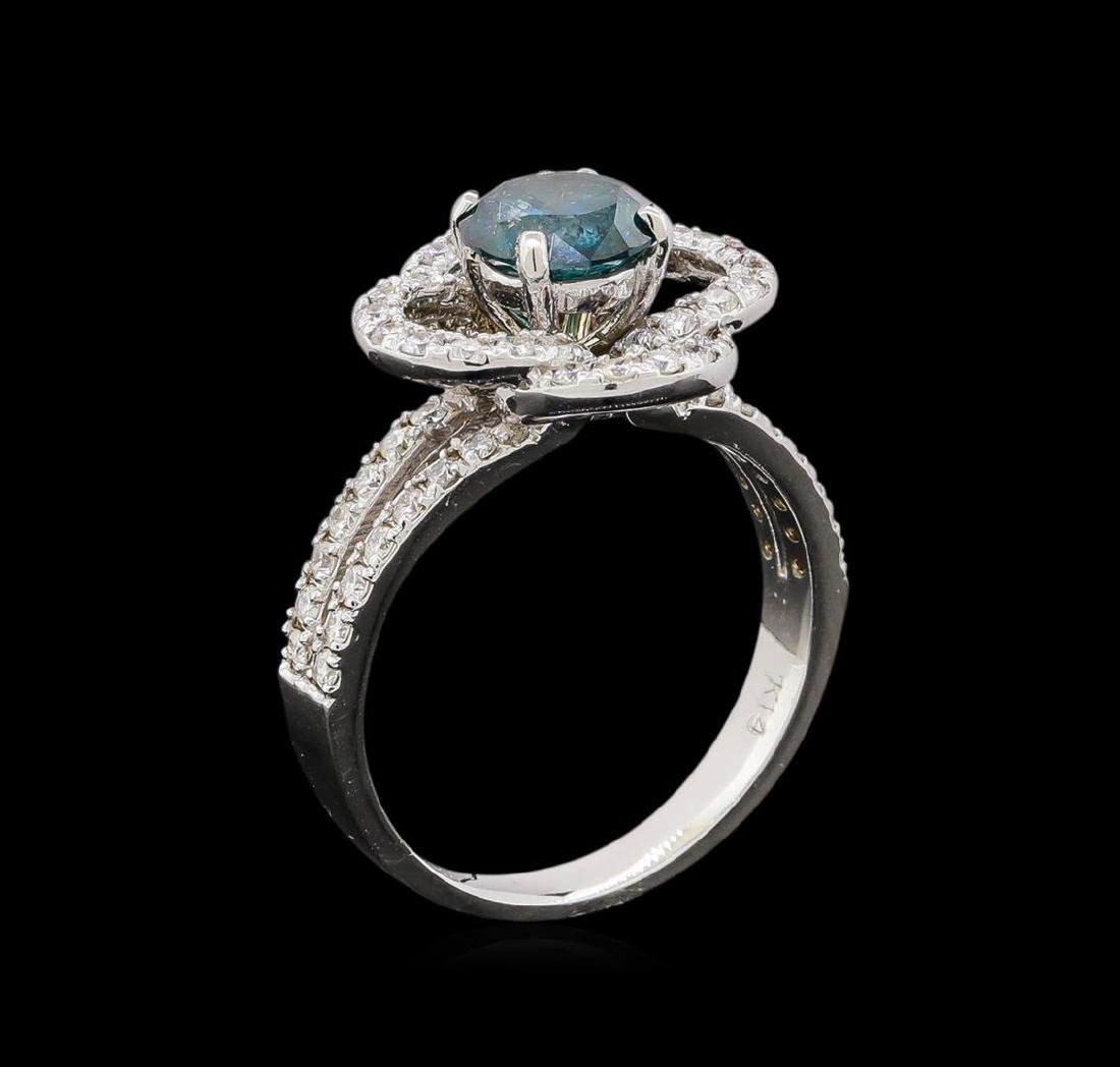 14KT White Gold 1.63 ctw Blue Diamond Ring - 4
