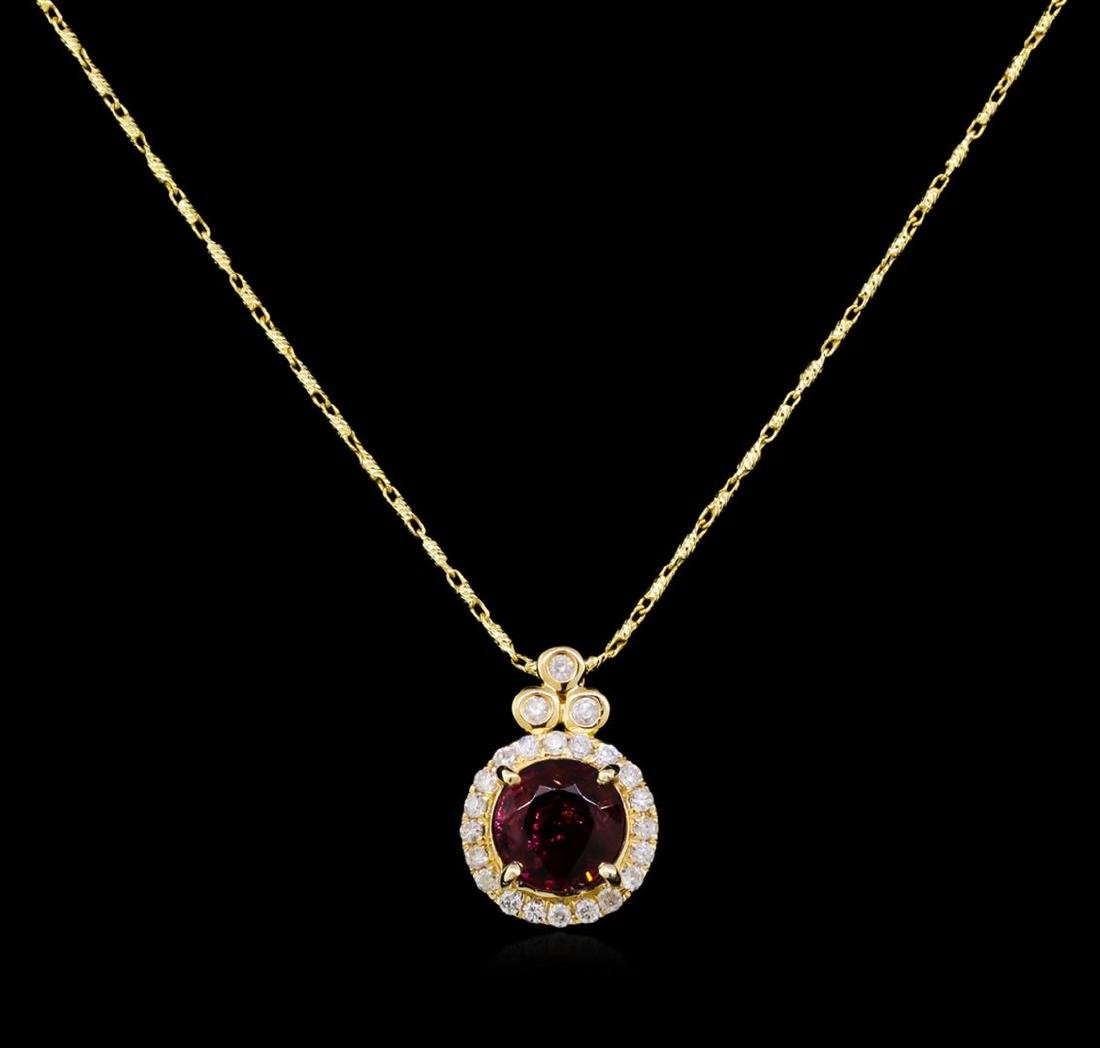 14KT Yellow Gold 2.12 ctw Rubellite and Diamond Pendant - 2