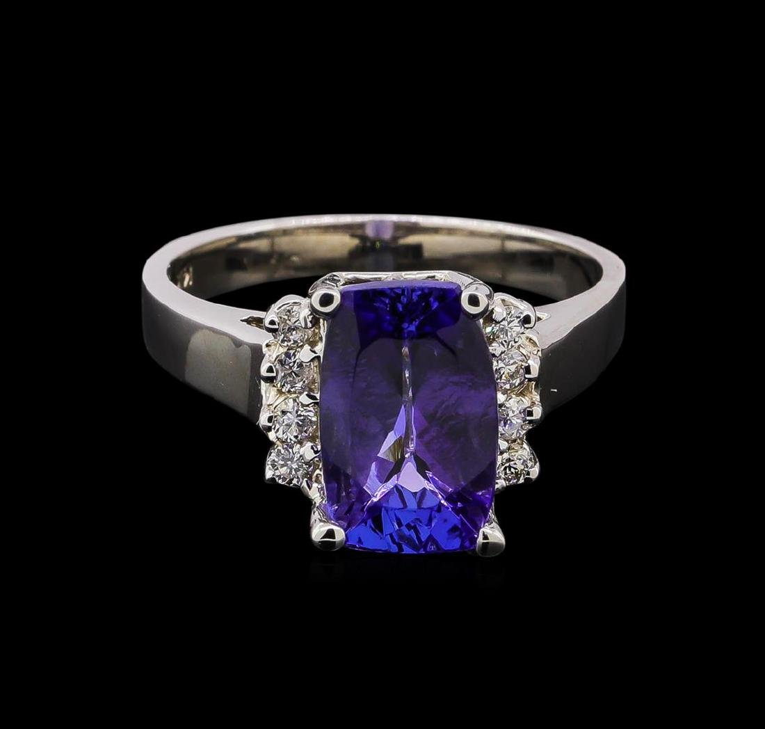 3.54 ctw Tanzanite and Diamond Ring - 14KT White Gold - 2
