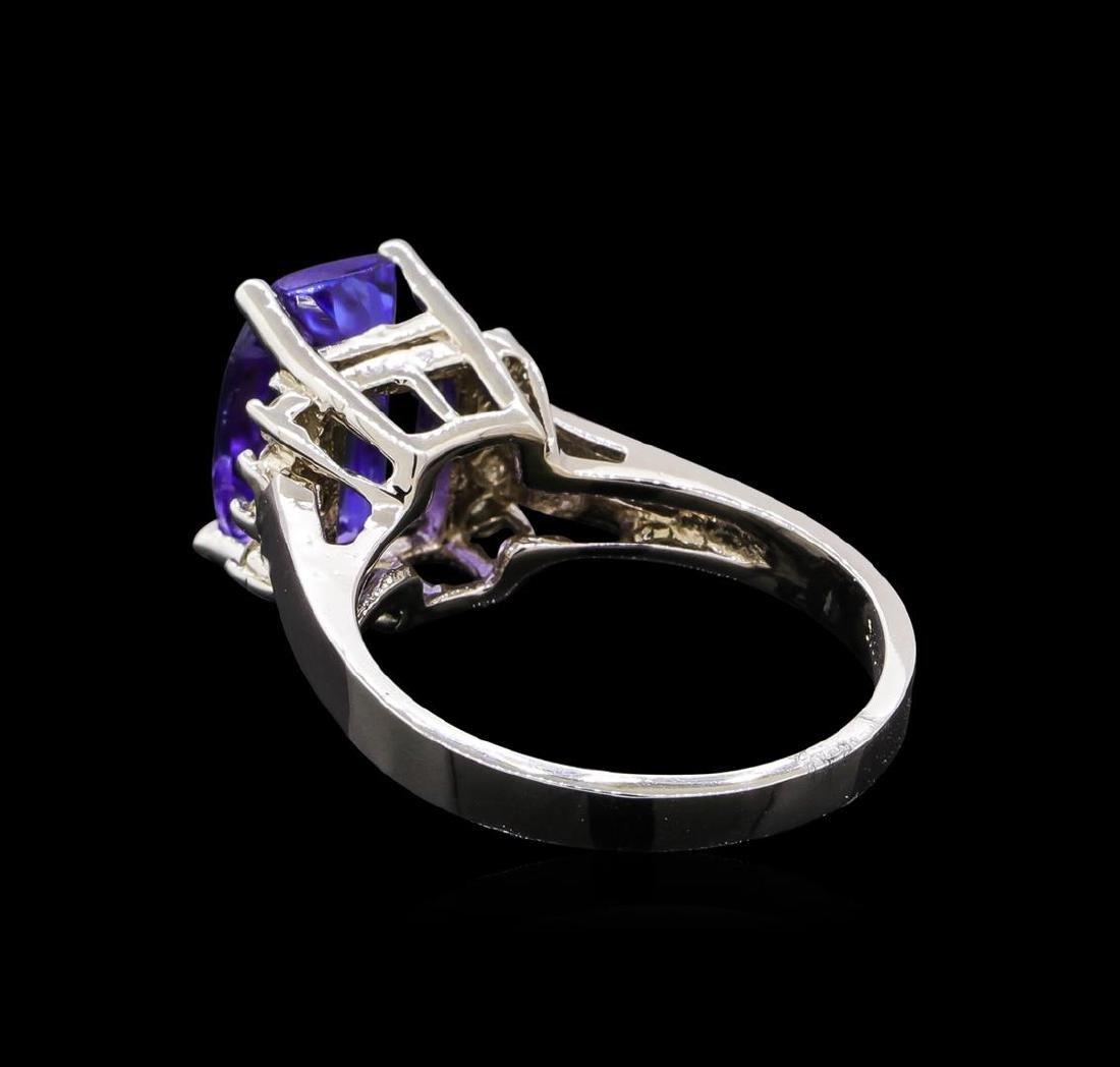3.54 ctw Tanzanite and Diamond Ring - 14KT White Gold - 3