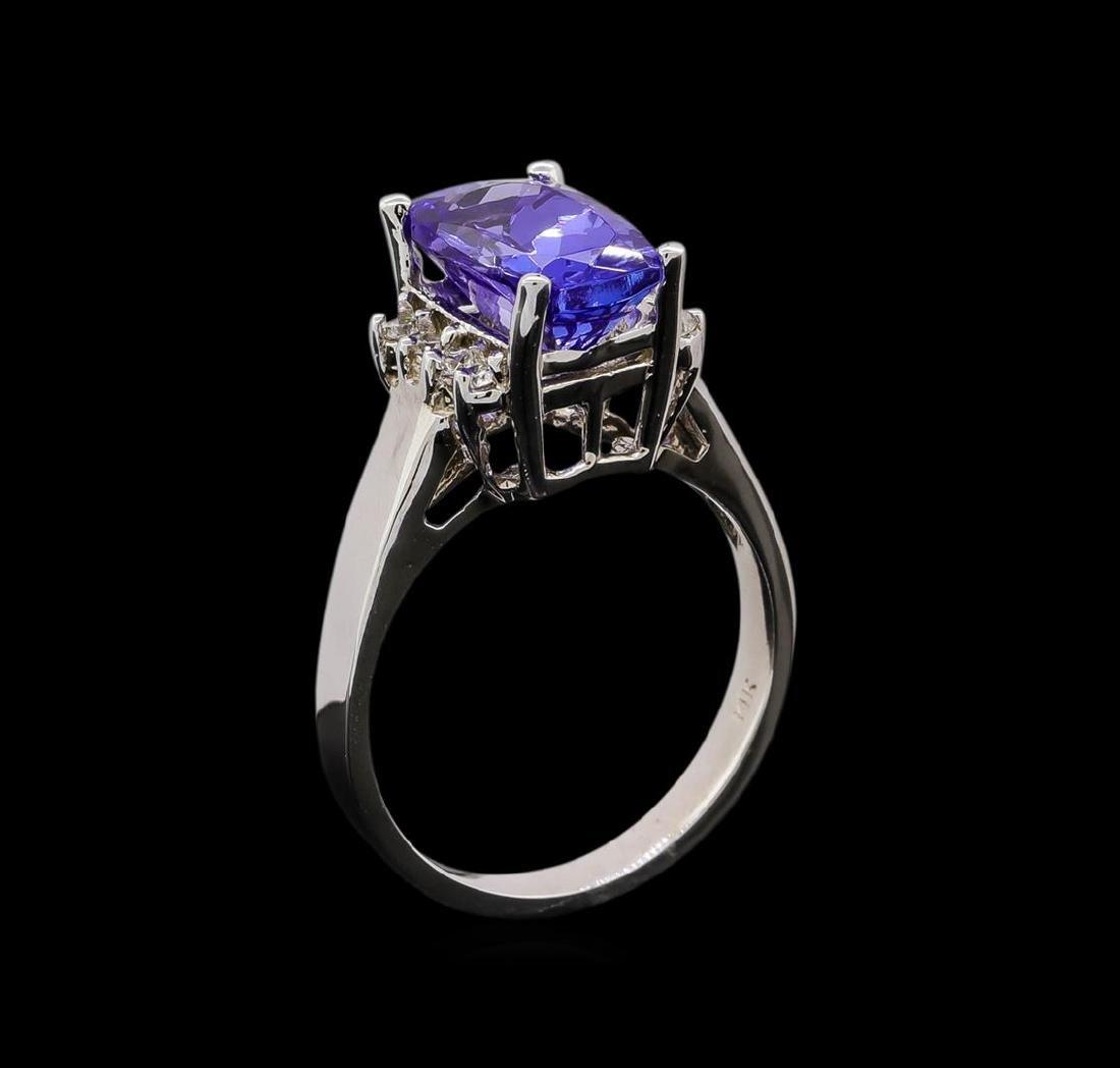 3.54 ctw Tanzanite and Diamond Ring - 14KT White Gold - 4