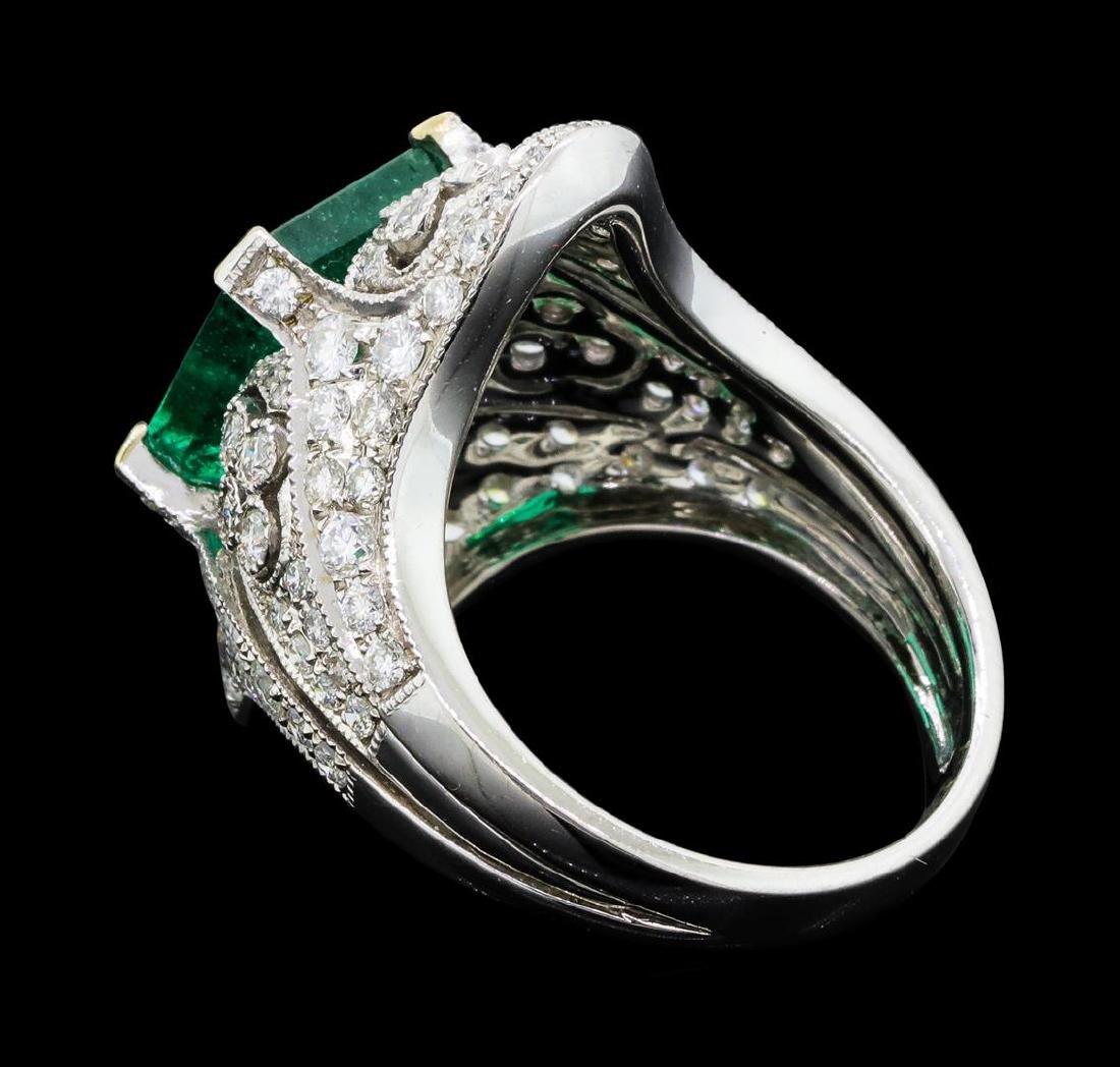 4.05 ctw Emerald And Diamond Ring - 18KT White Gold - 3