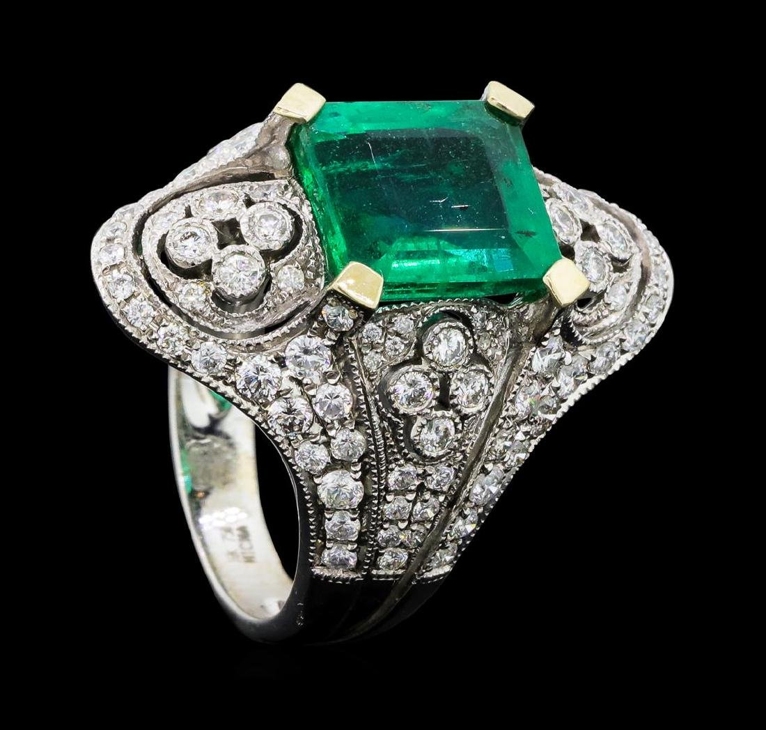 4.05 ctw Emerald And Diamond Ring - 18KT White Gold - 4