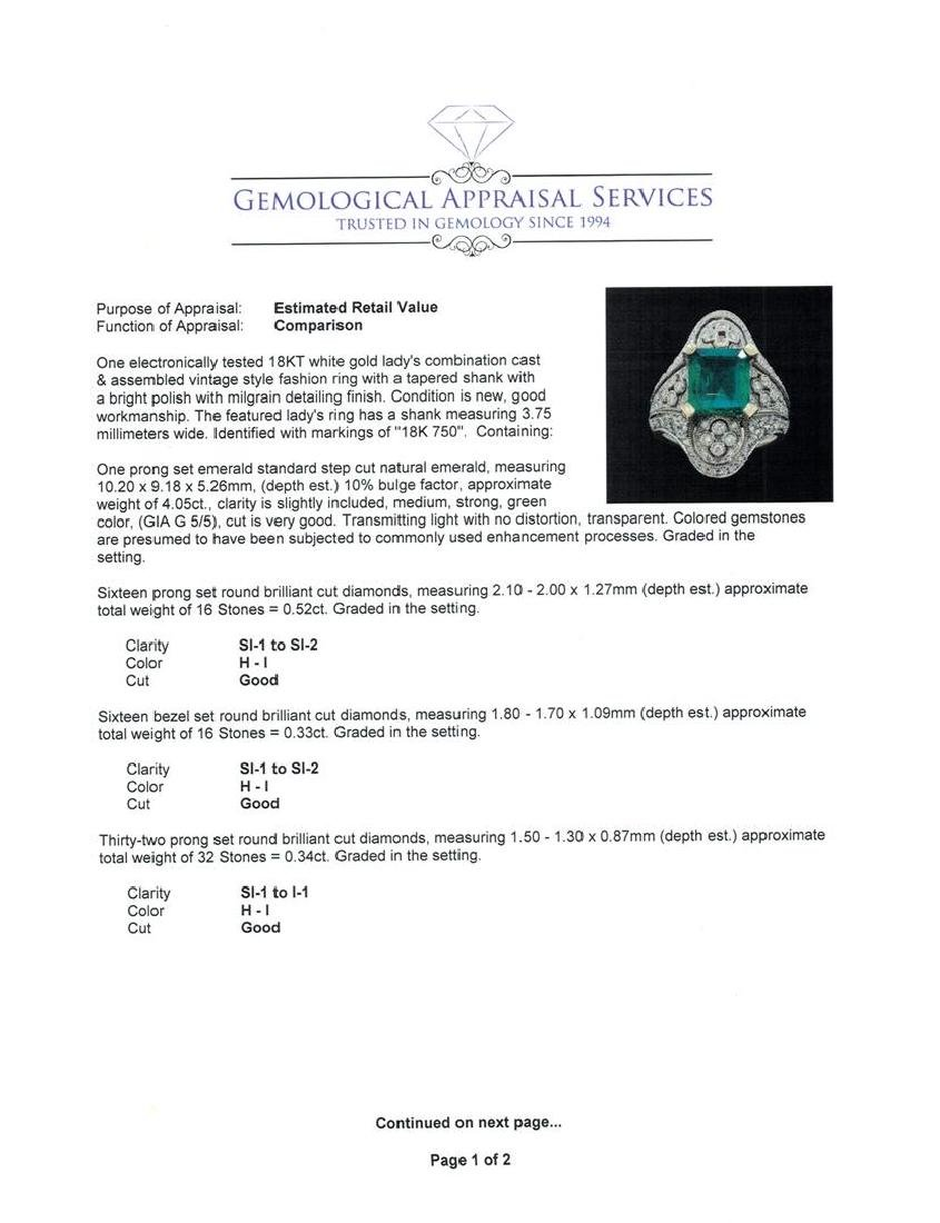 4.05 ctw Emerald And Diamond Ring - 18KT White Gold - 5