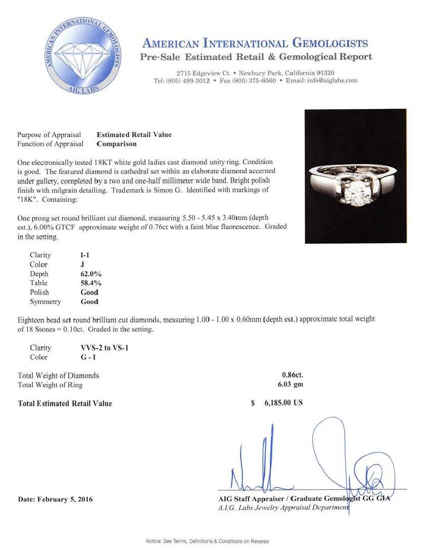0.86 ctw Diamond Ring - 18KT White Gold - 5
