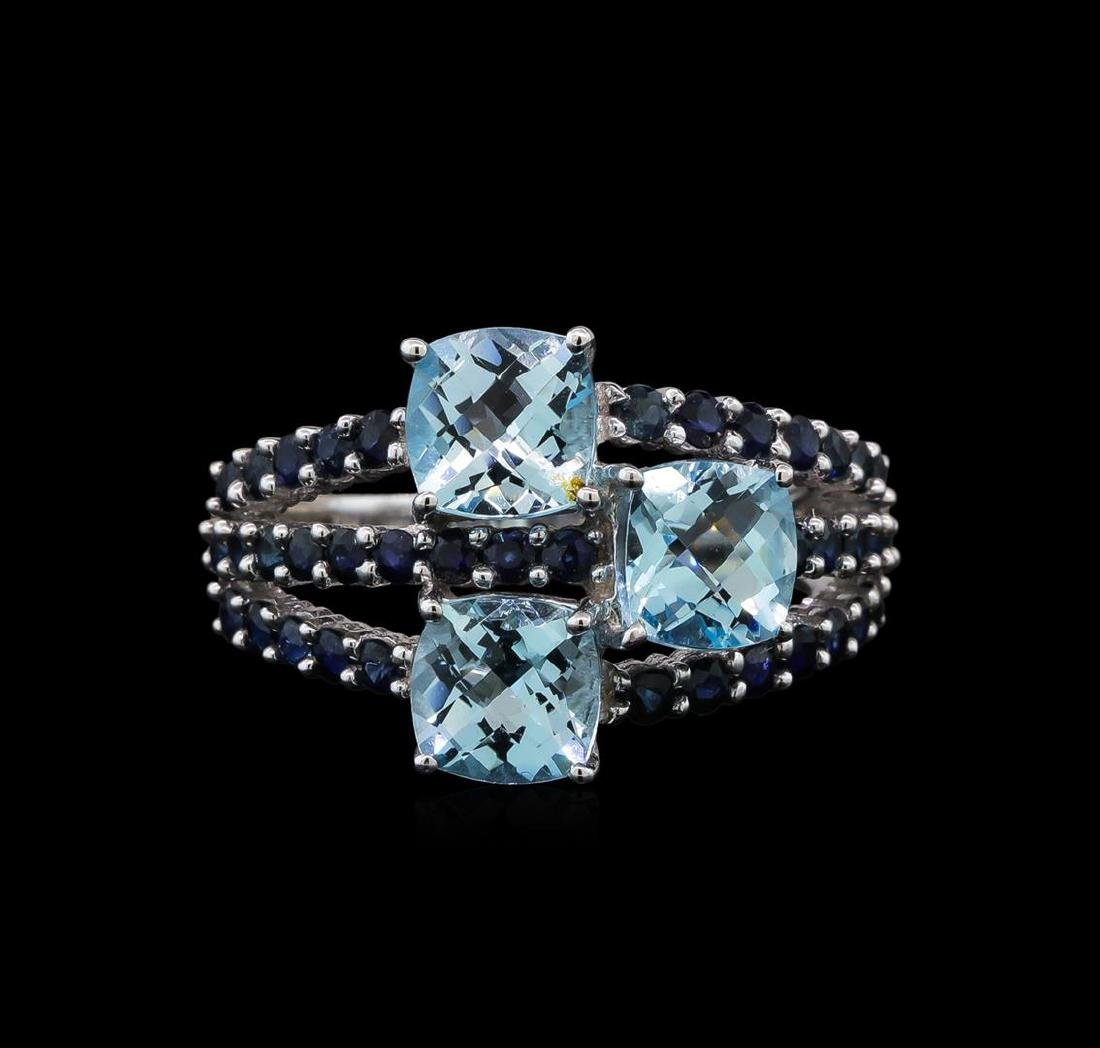 4.89 ctw Blue Topaz and Sapphire Ring - 14KT White Gold - 2