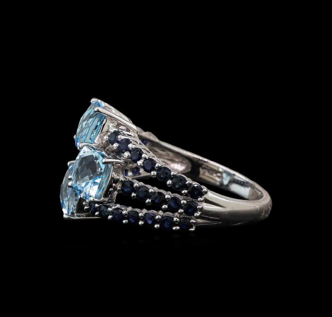 4.89 ctw Blue Topaz and Sapphire Ring - 14KT White Gold - 3
