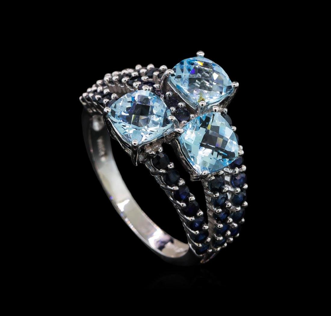 4.89 ctw Blue Topaz and Sapphire Ring - 14KT White Gold - 4
