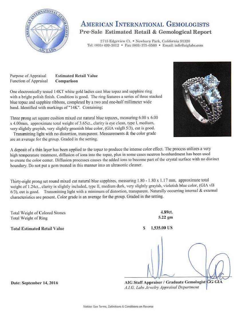 4.89 ctw Blue Topaz and Sapphire Ring - 14KT White Gold - 5