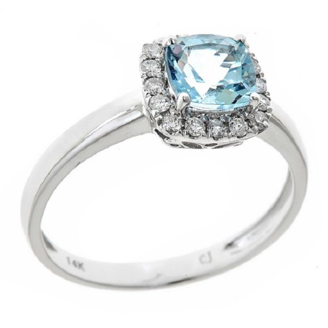 0.76 ctw Aquamarine and Diamond Ring - 14KT White Gold - 2