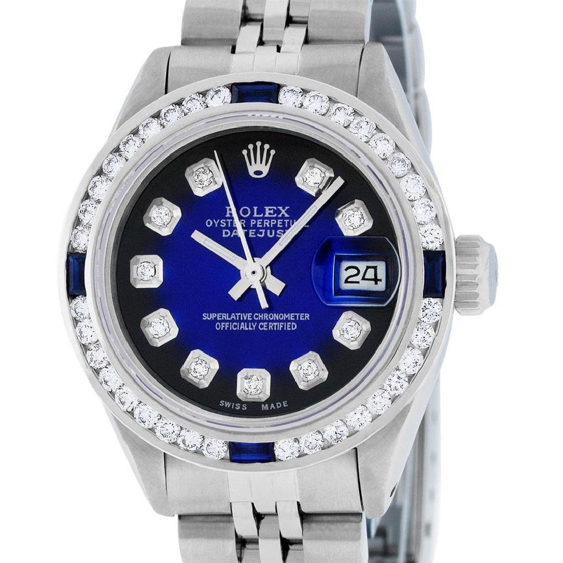 Rolex Ladies Stainless Steel Blue Vignette Diamond &