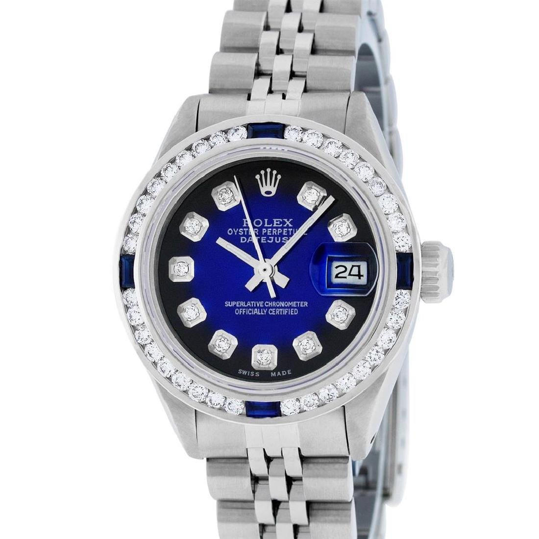 Rolex Ladies Stainless Steel Blue Vignette Diamond & - 2