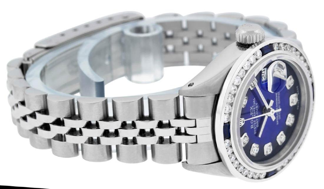 Rolex Ladies Stainless Steel Blue Vignette Diamond & - 3