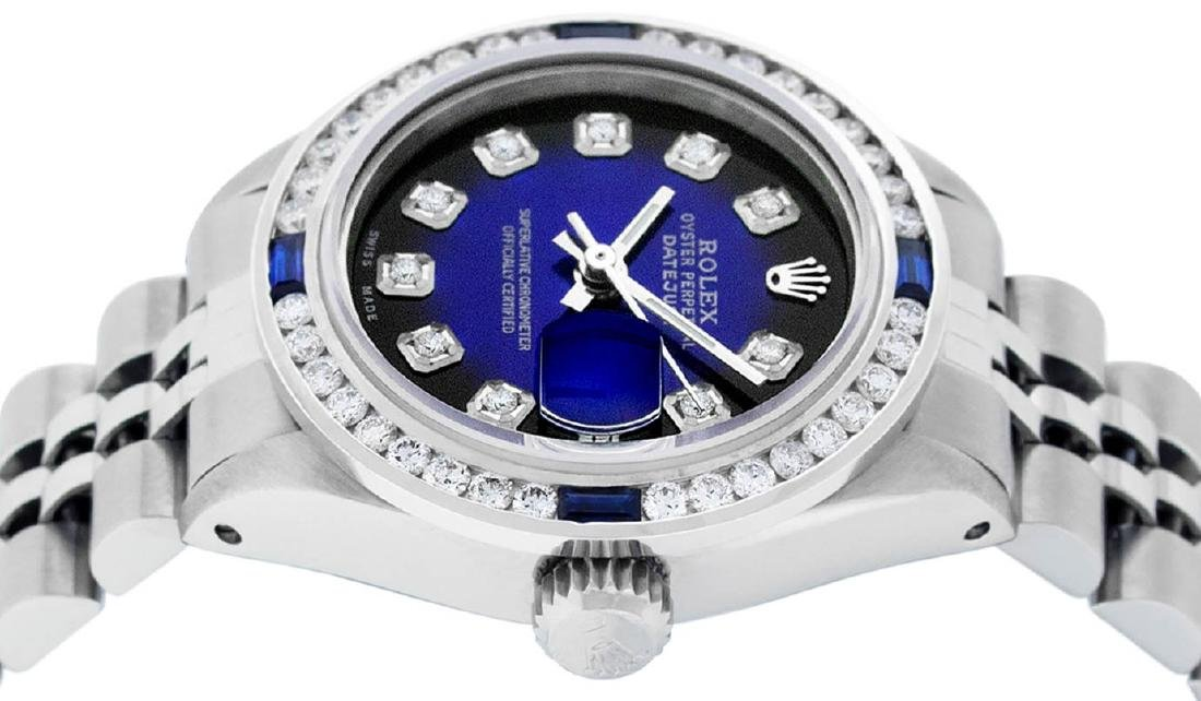 Rolex Ladies Stainless Steel Blue Vignette Diamond & - 4