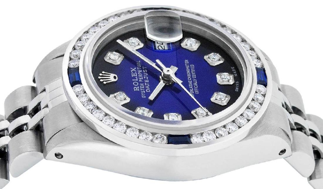 Rolex Ladies Stainless Steel Blue Vignette Diamond & - 5