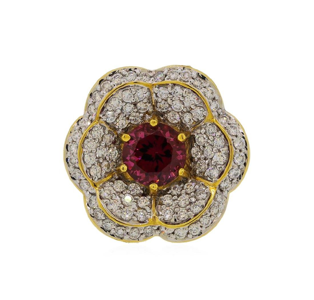 2.55 ctw Red Spinel and Diamond Ring - 18KT Yellow Gold - 2