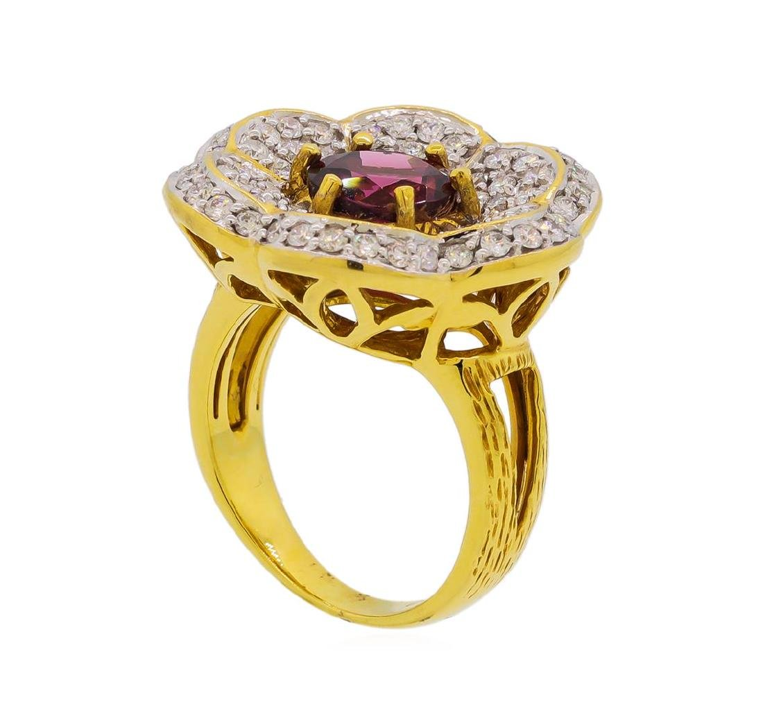 2.55 ctw Red Spinel and Diamond Ring - 18KT Yellow Gold - 4
