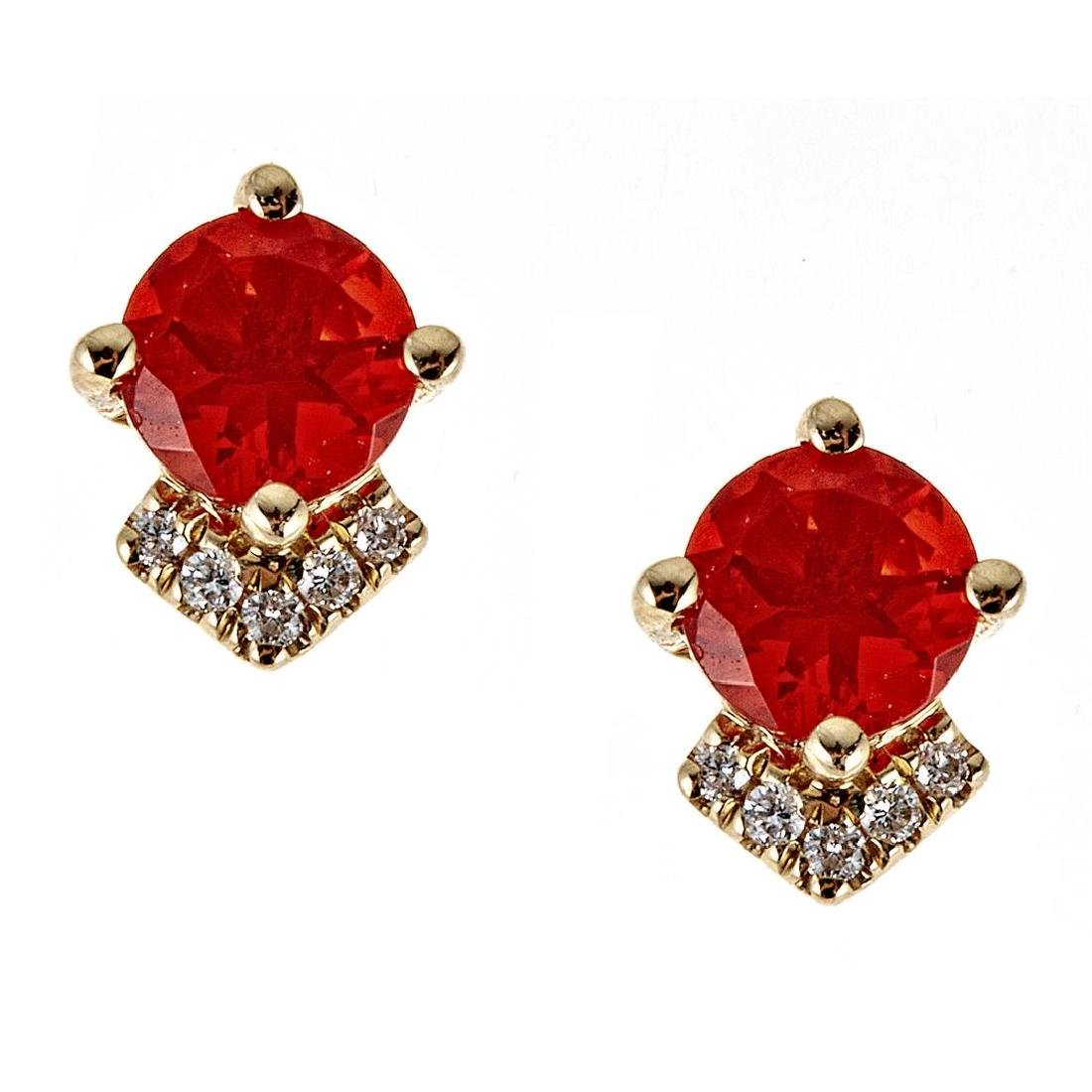 0.76 ctw Fire Opal and Diamond Earrings - 14KT Yellow