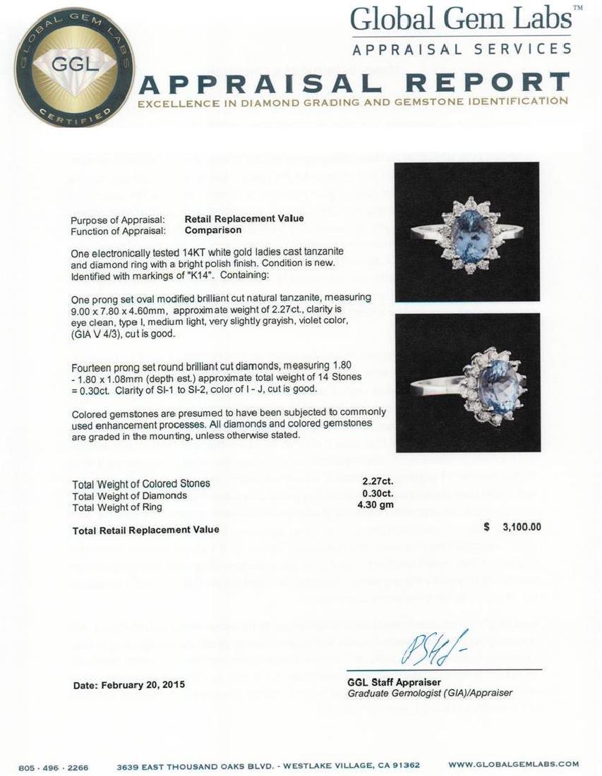 14KT White Gold 2.27 ctw Tanzanite and Diamond Ring - 5