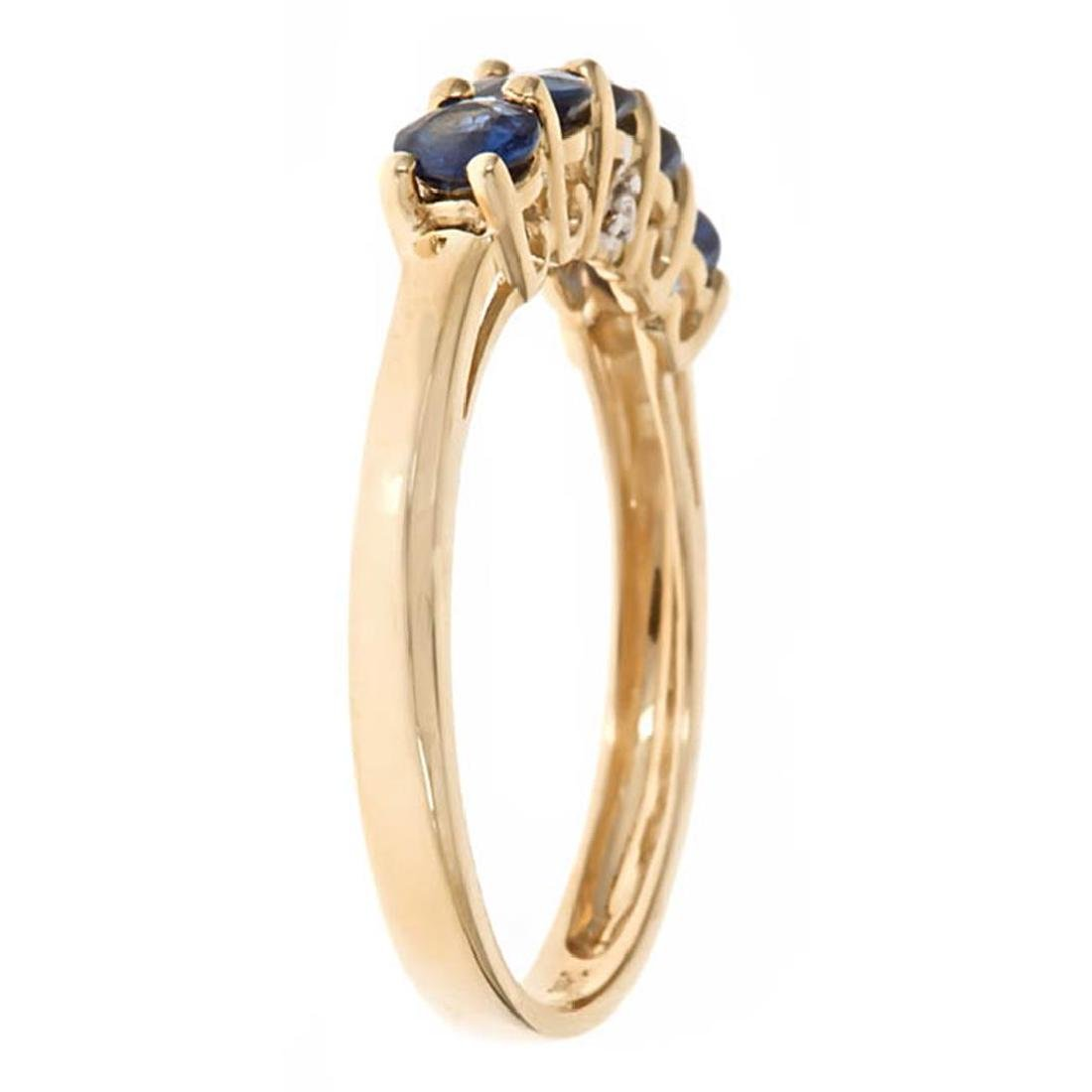 1.04 ctw Sapphire and Diamond Ring - 14KT Yellow Gold - 2