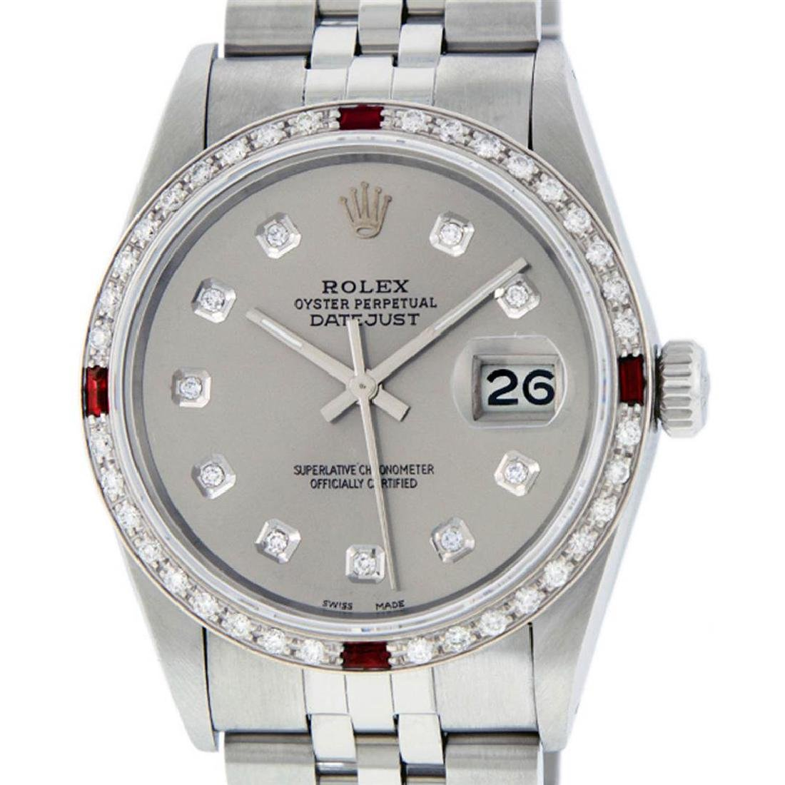 Rolex Mens Stainless Steel Gray Diamond & Ruby Datejust - 2