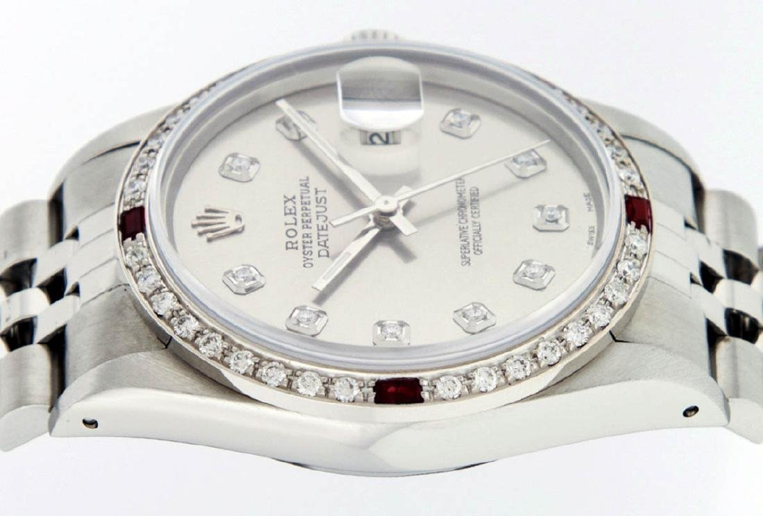 Rolex Mens Stainless Steel Gray Diamond & Ruby Datejust - 4