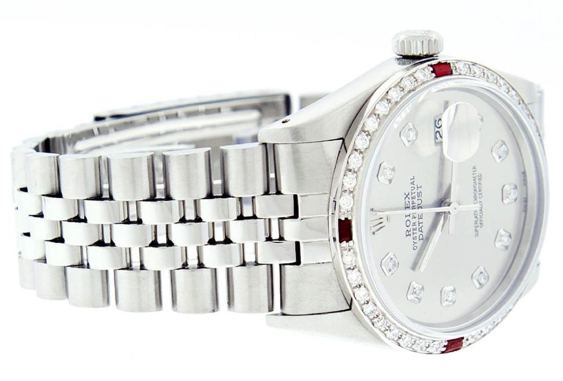 Rolex Mens Stainless Steel Gray Diamond & Ruby Datejust - 5