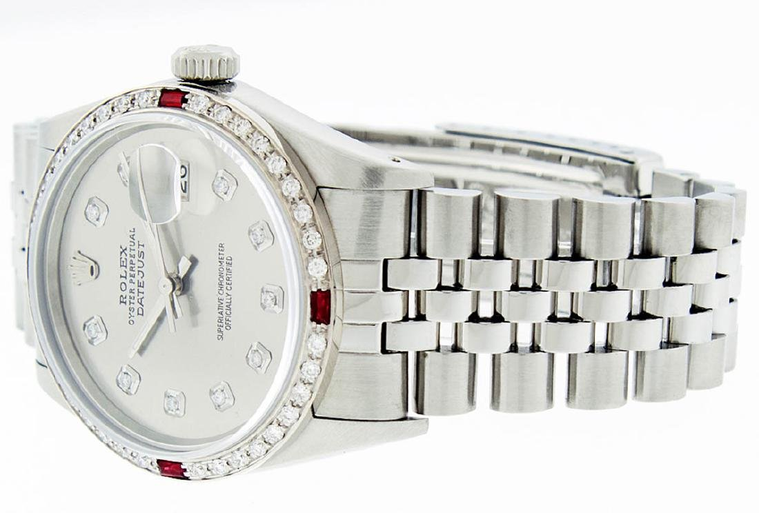Rolex Mens Stainless Steel Gray Diamond & Ruby Datejust - 6
